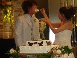 幸せのハトのケーキをあーん♪